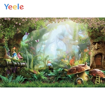 Dreamy Forest Tropical Jungle Mushroom Baby Shower Birthday Party Backdrop Photography Background For Photo Studio Photophone yeele cartoon dinosaur backdrop forest jungle kids baby birthday party custom vinyl photography background for photo studio