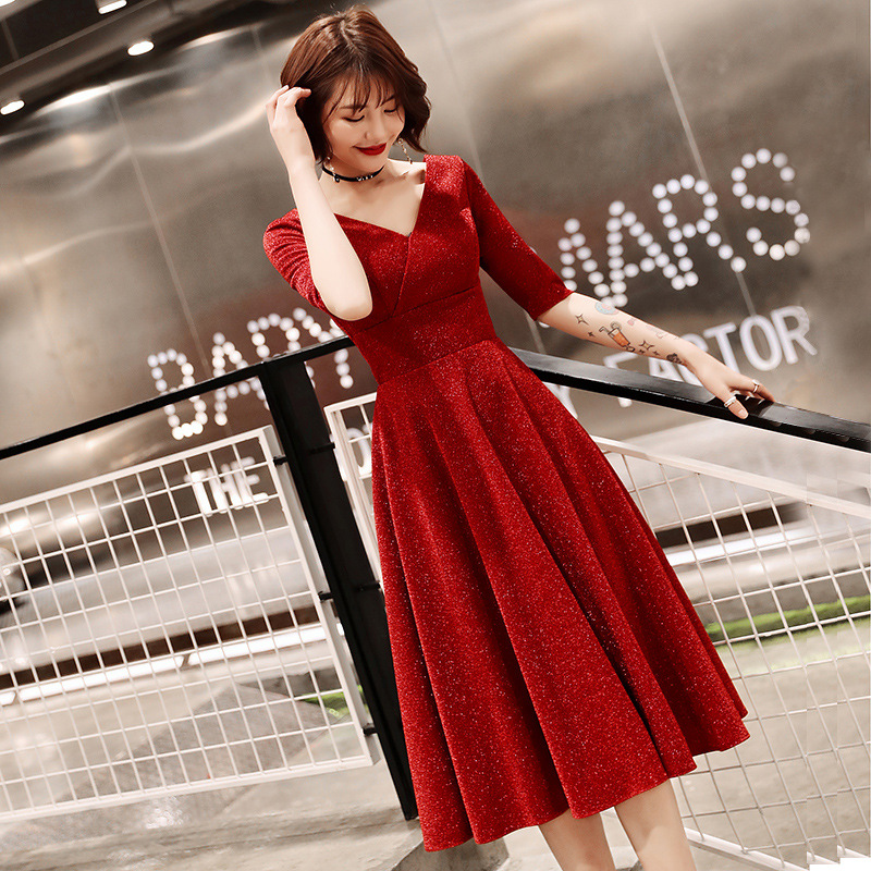 Dress For Toast Bride 2019 New Style Autumn & Winter Marriage Engagement Back Door Service Mid-length Red Slimming Evening Gown