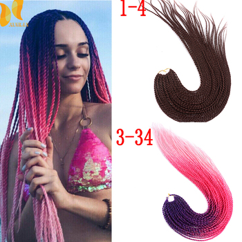 XINRAN Senegalese Twist Crochet Hair Extensions Ombre Braiding Synthetic hand knitting braids Braids - discount item  55% OFF Synthetic Hair