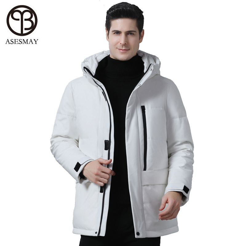 Asesmay 2019 New White Duck Down Jacket Men's Coat Winter Parka Thick Warm Male Jackets Waterproof Hoodies Long Brand Outerwear