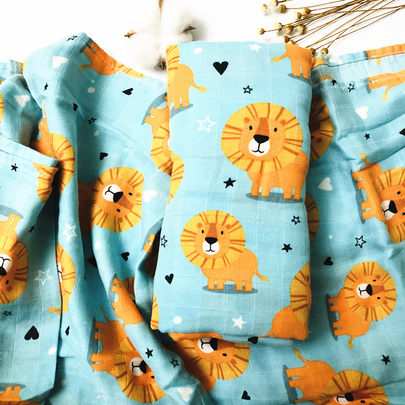 Lion 70% Bamboo+ 30% Cotton Baby Swaddle Wraps Cotton Baby Muslin Swaddle Blankets Newborn Big Diaper  Bamboo Muslin Quilt