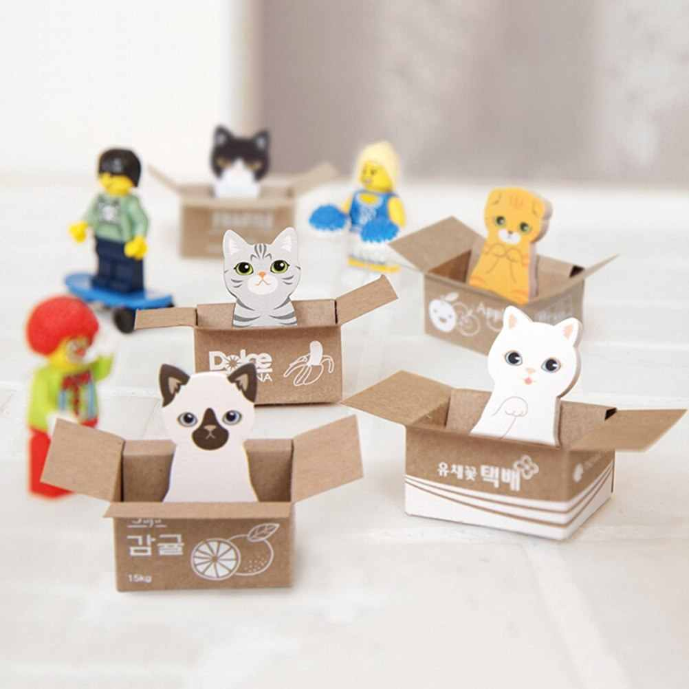 Koreaanse Briefpapier Leuke 3D Cartoon Sticky Notes Kawaii Scrapbooking Kat Box Stickers Kantoor Schoolbenodigdheden Memo Pad