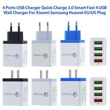 New Ports USB Charger Quick Charge 3.0 Smart Fast 4 USB Wall Charger For Xiaomi Samsung Huawei Quick Charging Adapter EU US Plug quick charge 3 0 usb charger travel for iphone samsung micro usb type c fast charging 3 ports eu us plug mobile phone charge