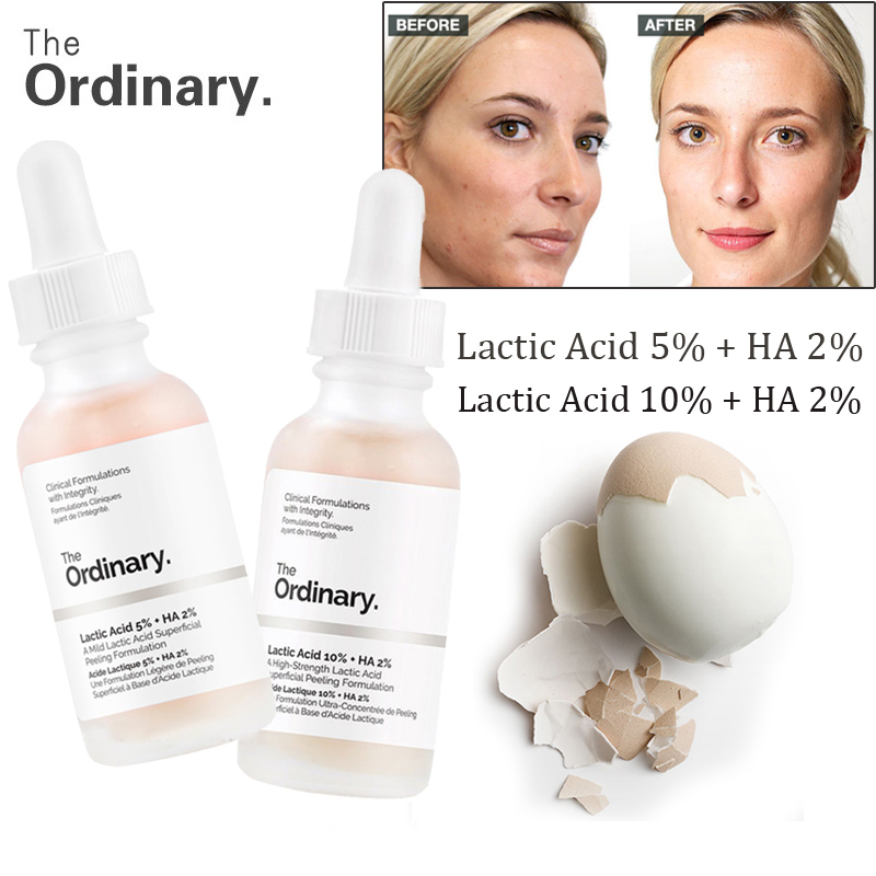 The Ordinary Lactic Acid 5%  Lactic 10% + HA 2% Superficial Peeling Formulation 30ml Face Skin Exfoliation Remove Scars Spots
