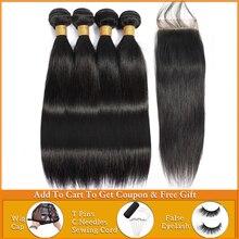 Lanqi ישר שיער חבילות עם סגירת שיער טבעי מארג 2 4 חבילות עם סגירה פרואני שיער חבילות עם סגירת שאינו רמי