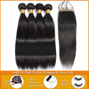 Image 1 - Lanqi ישר שיער חבילות עם סגירת שיער טבעי מארג 2 4 חבילות עם סגירה פרואני שיער חבילות עם סגירת שאינו רמי