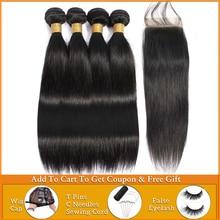 Lanqi mechones de pelo liso con cierre, cabello humano ondulado, 2 4 mechones con cierre, mechones de pelo peruano con cierre no remy
