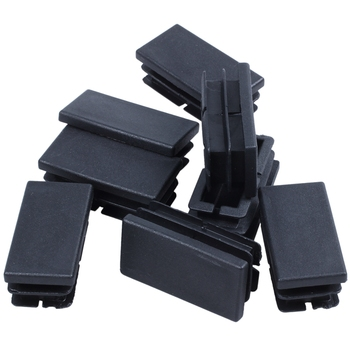 8 Pcs Black Plastic Rectangular Blanking End Caps Inserts 20mm x 40mm - discount item  33% OFF Furniture Accessories