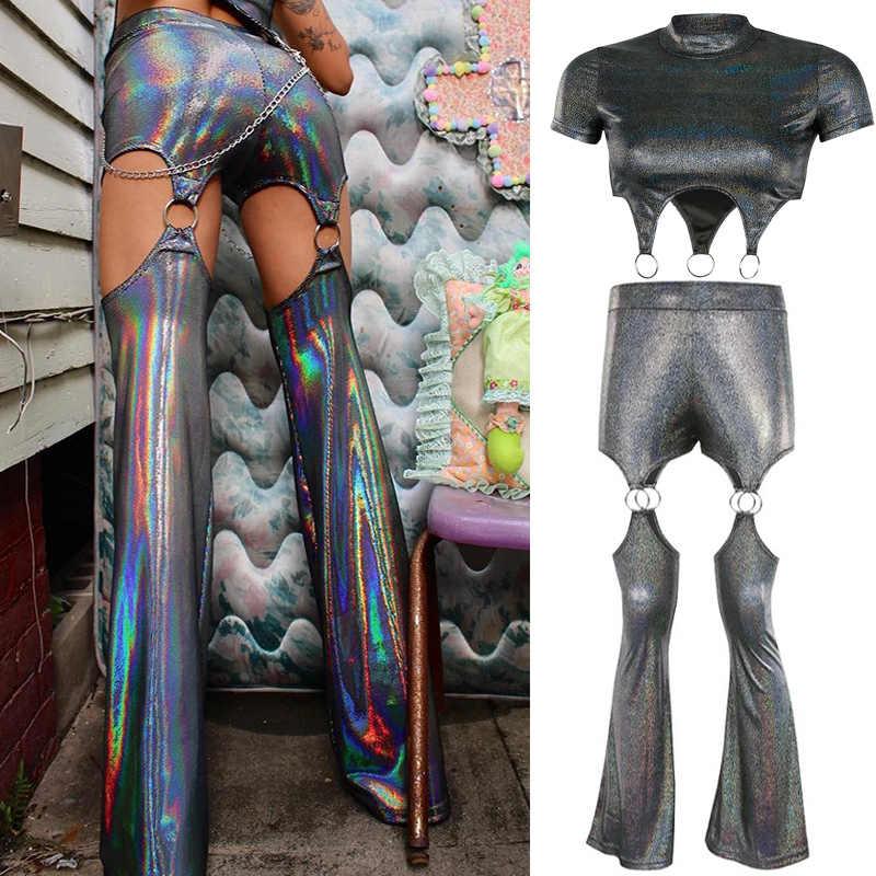 ไนท์คลับหญิง DJ เพลงเทศกาล RAVE ชุดบาร์ Gogo นักร้องเสื้อผ้าเลเซอร์ Flare กางเกงสูท DNV12340
