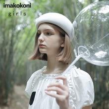 White Polka Dot Long Short Sleeve Dress Imakokoni Original Japanese Fresh Loose Summer 182319