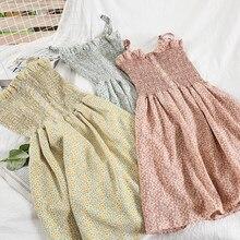 W kwiaty retro sukienka Sling kobieta 2021 lato koreański szyfonowa mini sukienka dla kobiet plaża linia bez rękawów sukienka z nadrukiem vestidos