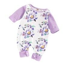 цена на Flower Print Baby Girl Romper Newborn Rompers Winter Warm For Newborns Clothes 0-4 Years Ruffle Sleeve Kids Jumpsuit Cotton D35