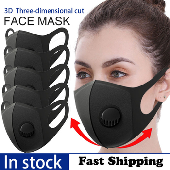1/3/10pc Black Sponge Breathable Valve Mask PM2.5 Dust and Smoke Mask Half Mask can be Washed Reused Respirator Mask with Filter
