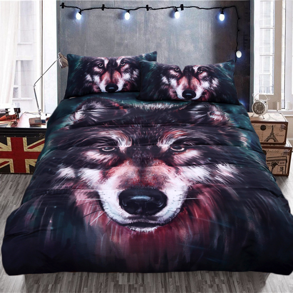 Foreign Trade Hot Sales AliExpress Europe And America Hot Selling 4-piece Bedding Set Oil Painting Wolf Printed Cross Border Tex
