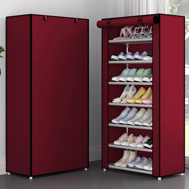 6 Layer 8 Layer 10 Layer Cloth Shoe Cabinet Folding Assembly Metal Shoe Rack Multi-layer Dustproof Fabric Shoe Storage Rack