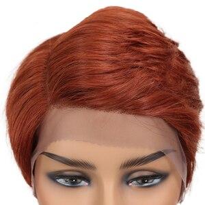 Image 5 - Trueme Ren Mặt Trước Con Người Tóc Giả 613 Tóc Vàng PIXIE Cắt Tóc Giả Ngắn Remy Brasil Tóc Giả Bên L Phần Ren tóc Giả Dành Cho Nữ