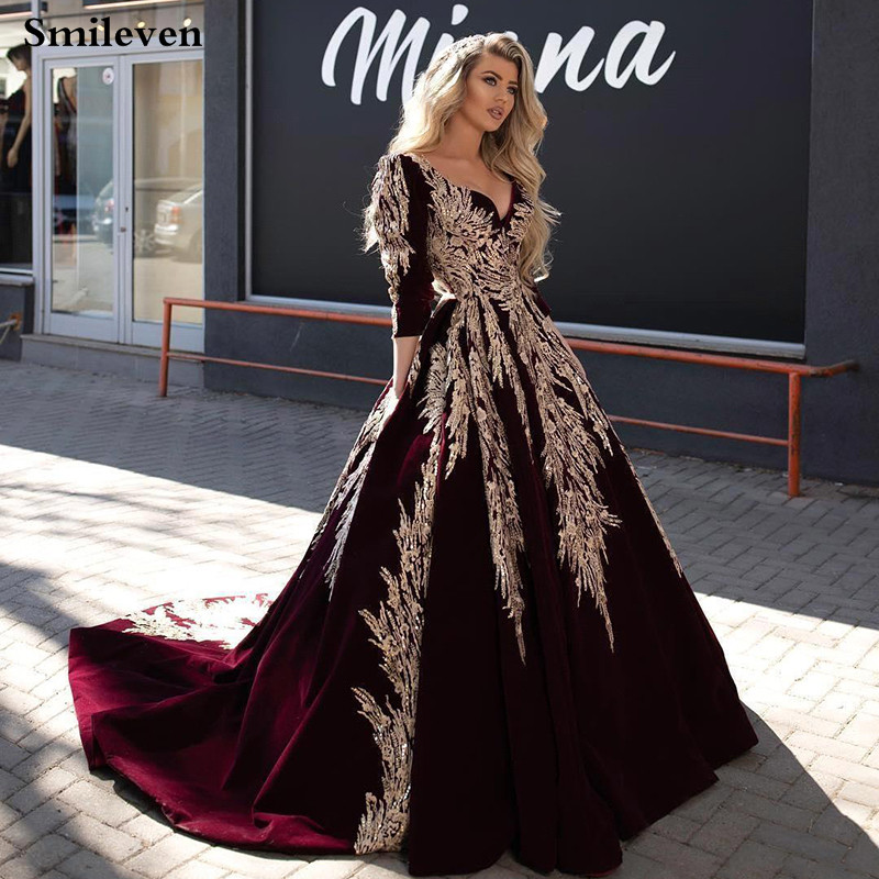 Smileven Caftan Karakou Algerien Formal Evening Dresses 3/4 Sleeve Burgundy Velvet Gold Lace Peplum Occasion Evening Prom Gown