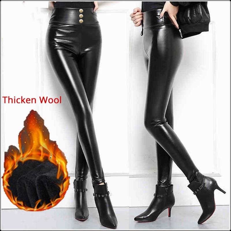 Plus Big Size PU Leather Leggings Thicken Wool Warm Women High Waist Stretch Slim Faux Leather Trousers 3 4XL Black Skinny Pants