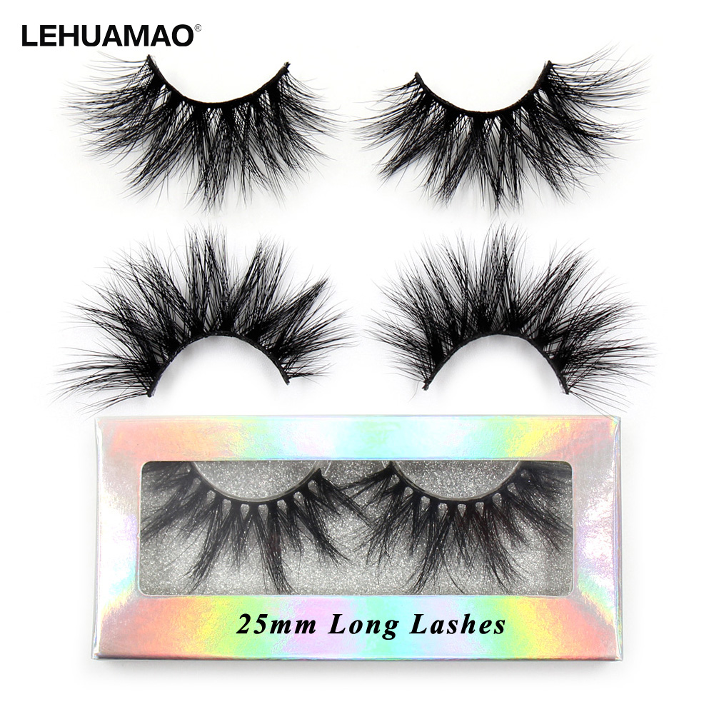 LEHUAMAO Eyelashes 3D Lashes 25mm Mink False Eyelashe Fluffy Soft Eyelash Dramatic Makeup Lashes Mink 3D Lash Natural Long G05