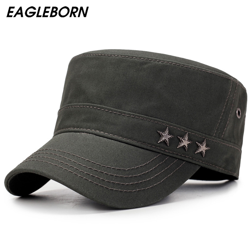 EAGLEBORN Army 3 Stars Flat Top Mens Women Caps Hat Adjustable Casual Military Hats For Men Snapback Cadet Military Patrol