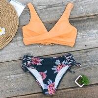 Bikini de cintura media con estampado de limón y amarillo para mujer, traje de baño Sexy de dos piezas con cordones 18