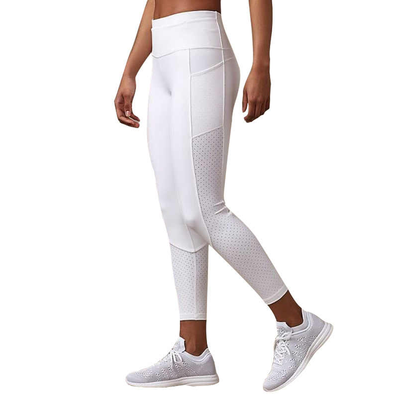 Nefes örgü koşu Jogger tayt kadınlar sıkı spor fitness pantolonları yansıtıcı Yoga spor tayt cep ile