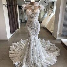 Liyuke luxo avestruz pena sereia vestido de casamento colher decote com sem mangas chaple trem vestido de noiva