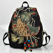 2019 Bag Yunnan Ethnic Embroidery Women's Bag Peacock  Bags Canvas Women's Backpack Water-proof Ethnic New Shoulder Bag Hmong