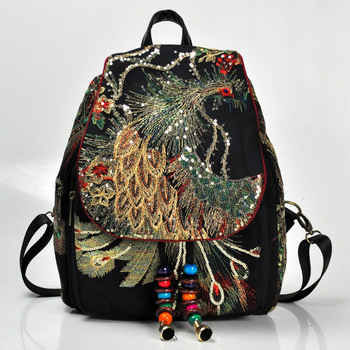 Vintage Floral Peony Ethnic Embroidery Women's Bags  Canvas Women's Backpack traveling backpack China Embroidered 2020 noenname 2018 summer new miao handmade bucket bags ethnic flowers embroidery canvas backpack women bags female national
