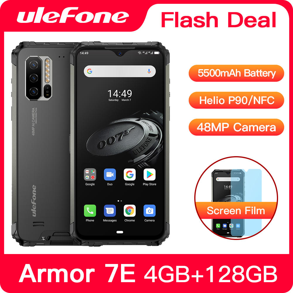 Ulefone Armor 7E Waterproof Rugged Smartphone Android 9.0 4GB+128GB NFC Helio P90 IP68 5G WIFI 5500mAh Cell Phone Mobile Phone