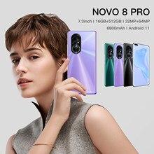 Teléfono NOVO 8 Pro 5G versión Global, gran pantalla de 7,3 pulgadas, 32 + 64MP, 12GB + 512G, Android 11, identificación facial, Batería grande de 6800mAh