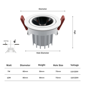 Image 5 - [DBF]2020 Neue Hohe CRI≥ 90 Anti Glare LED COB Einbau downlight 7W 12W Winkel einstellbar Decke Spot Lichter Küche Wohnzimmer