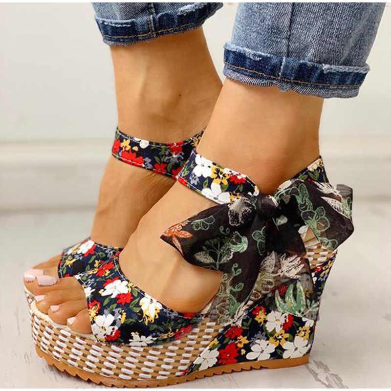 Lucyever yaz plaj Boho çiçek kama sandalet kadın ayak bileği kayışı platformu gladyatör ayakkabı kadın yüksek topuklu Sandalias Mujer 2020