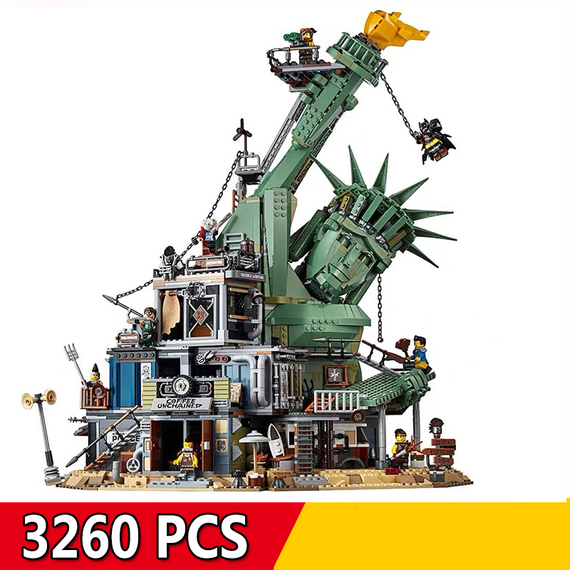 11252 3260Pcs Big Movie Series Doomsday Castle Statue Of Liberty Model Building Blocks Bricks Compatible Legoings 70840 Kids Toy