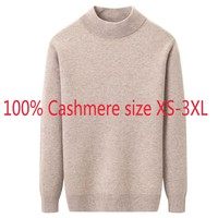 New Winter Thickening 100% Pure Cashmere Men Half High Collar Knitted Bottom Sweater Computer Knitted Pullovers Plus Size XS 3XL