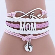 Pulseira do amor da mamãe, pulseira com corrente dupla para as mulheres, joias com múltiplas camadas e talismã