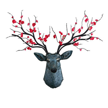 Nordic 3D Retro Flower Lucky Deer Head Wall Hanging Decor Living Room TV Background Clothing Store Soft Wall Decor M4245