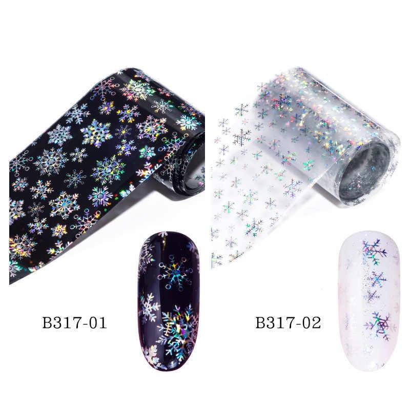 100x4cm Xmas Patroon voor Nail Sticker 3D Sneeuwvlok Ster Laser Glitter Kerst Nail Art Transfer Folies