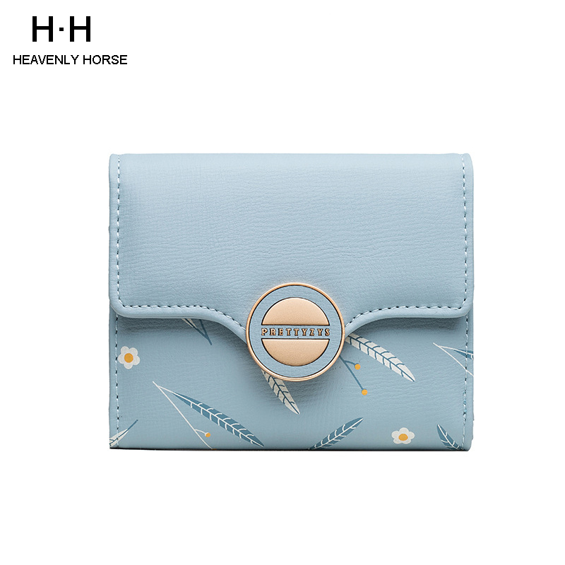 2020 New Arrival Small Fresh Printed Women Short Wallet Sweet Lady PU Girl Purch Coin Wallet Card Package