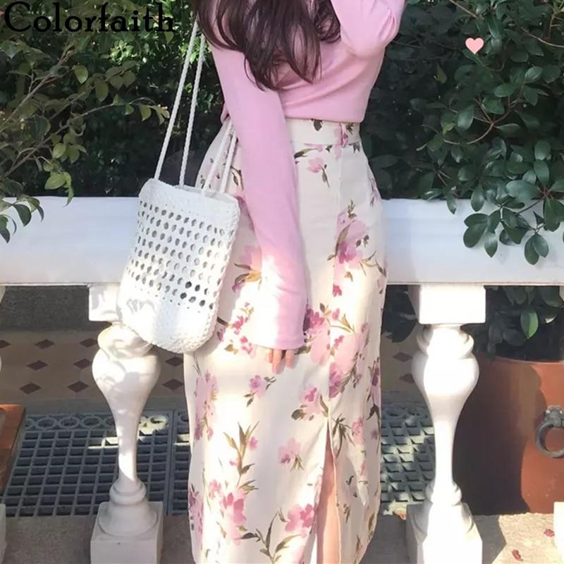 Colorfaith 2020 Women's Summer Skirts Casual Elegant Vintage High Waist Chiffon Print Floral Split Sexy Lady Long Skirts SK8699