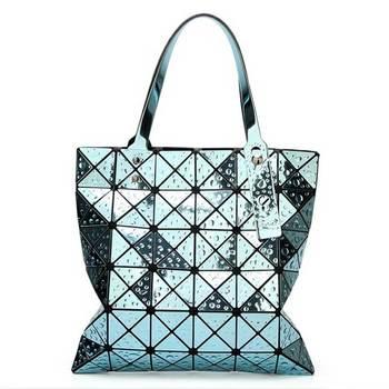 6*6 Newest Tote Bags Geometry Drip Japan Style Women Geometry Bao Tote Handbag Laser Diamond Lattice Shopper Folding Bag - Blue