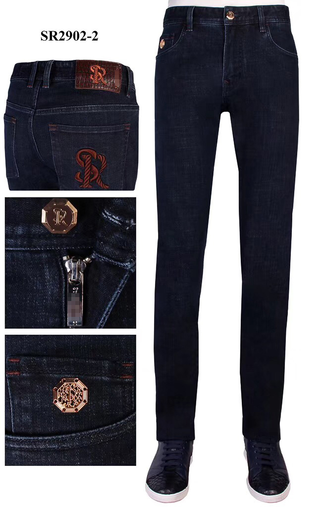 BILLIONAIRE Jeans Cotton Cowhide Men 2019 New Winter Thick Fashion Comfort Embroidery England Pattern Zipper Free Shipping