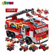 561PCS 12 IN 1 Fireรถบรรทุกของเล่นLegoINGlys Building Blocksใช้งานร่วมกับอิฐเมืองรถดับเพลิงของเล่นสำหรับเด็ก