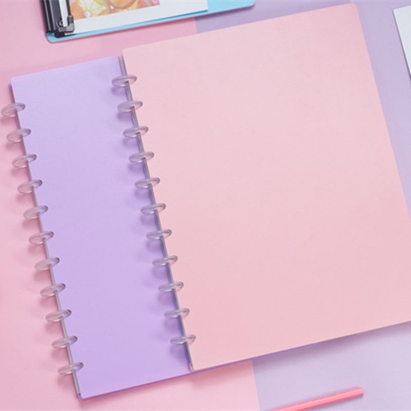 A4/A5 Candy Color Loose-leaf Mushroom Hole Removable Notebook Diary Book Sketchbook Discbound Notebooks A1909-041