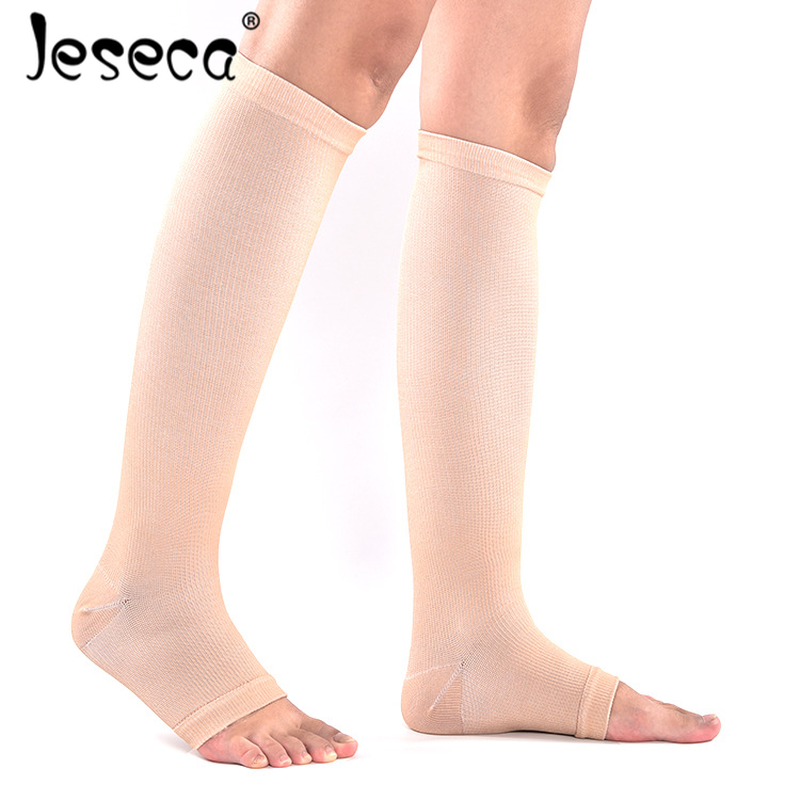 Jeseca New Unisex Stockings Compression Underwear Open Toes Pressure Varicose Vein Knee High Long Sox Pressure Circulation