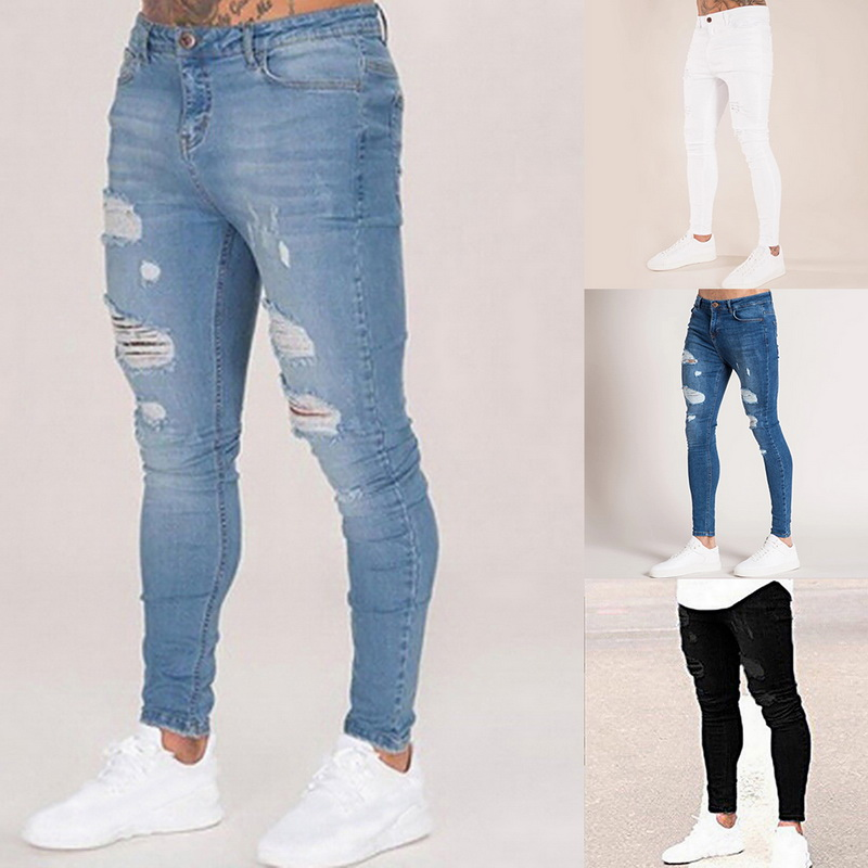 Mens Solid Color  Jeans 2019 New Fashion Slim  Pencil Pants Sexy Casual Hole Ripped Design Streetwear