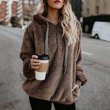 цена на 2019 New Design Women Long Sleeve Hooded Fleece Sweatshirt Autumn Winter Thicken Warm Zip Up Hoodie Pullover