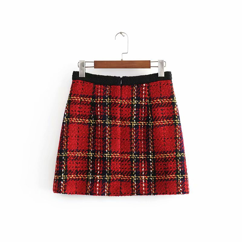 Vintage Plaid Mini Skirt Women Red Boho Elegant Midi Fashion Skirts