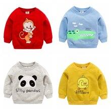 Новые свитшоты для маленьких мальчиков и девочек; сезон осень-весна; хлопковые толстовки с героями мультфильмов; топы для детей; Детские футболки с длинными рукавами; блузка; одежда
