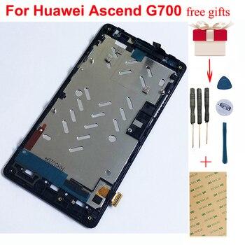 Dokunmatik ekran digitizer Sensörü Cam + lcd ekran panel modülü Montaj Çerçevesi için Huawei Ascend G700 G700-T00 G700-U00 G700-U10